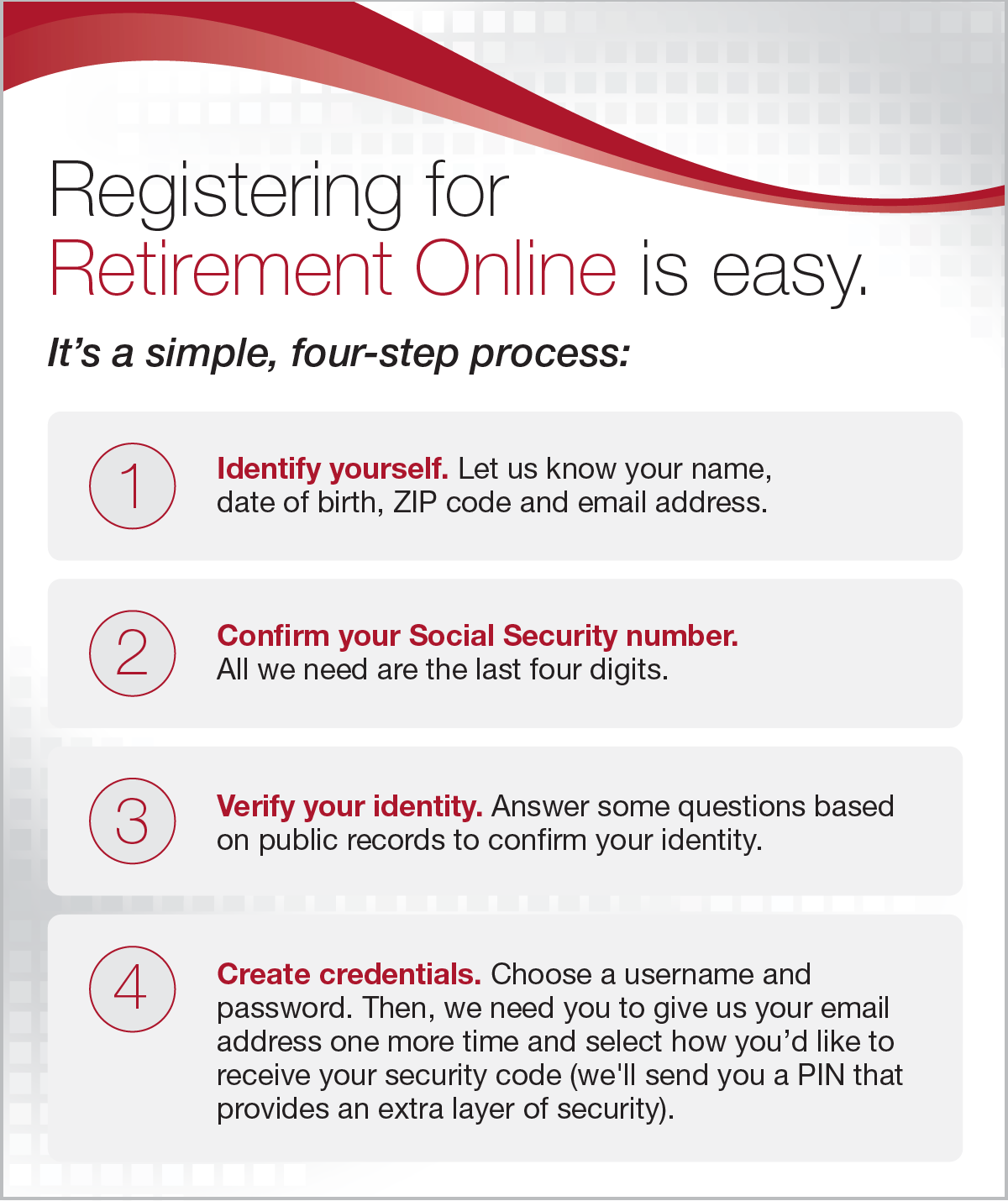 Registering for Retirement Online is easy